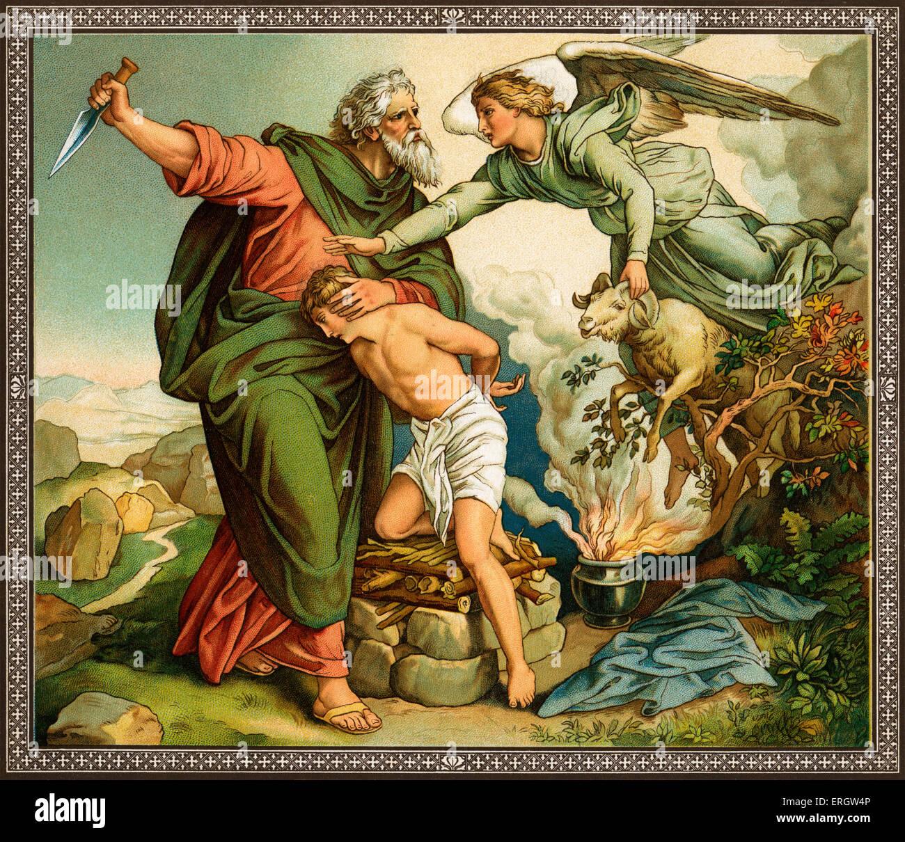 Abrahams Glaube an Gott ? er ist Gottes Gebot Abraham, Isaak zu opfern, anstatt eines Widders versucht zu erfüllen, Stockbild