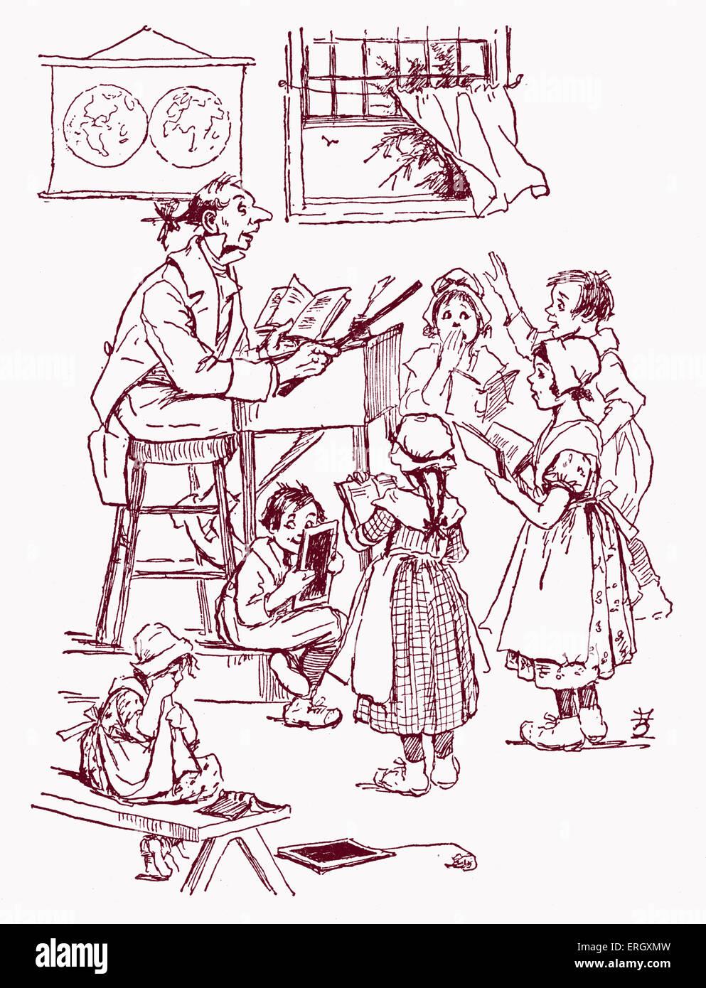 """Die Legende von Sleepy Hollow von Washington Irving. Bildunterschrift lautet: """"seine Schüler waren alle Stockbild"""