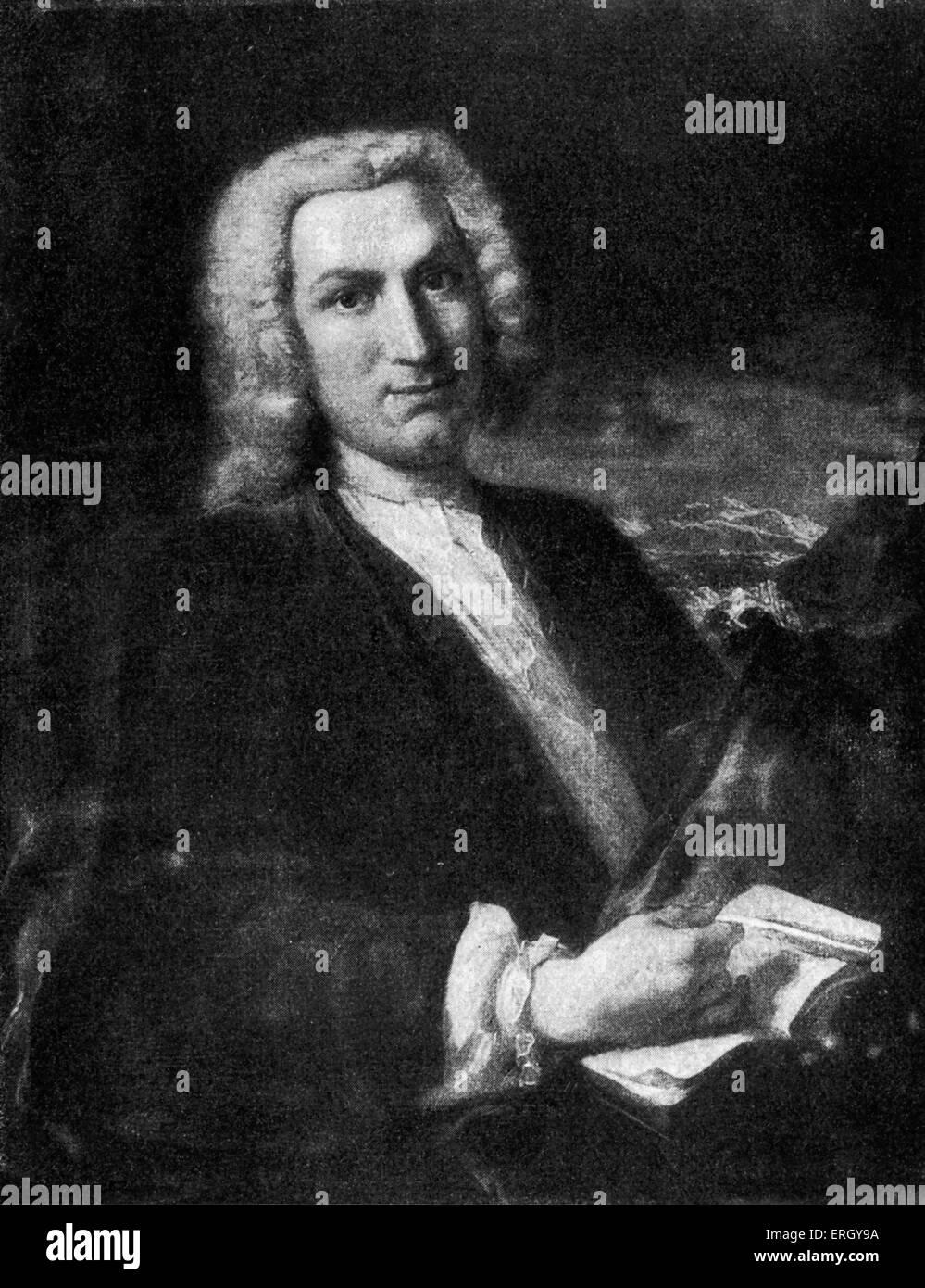 Albrecht von Haller. Nach A. Weese. AH, Schweizer Anatom, Physiologe, Naturforscher und Dichter: 16. Oktober 1708 Stockbild
