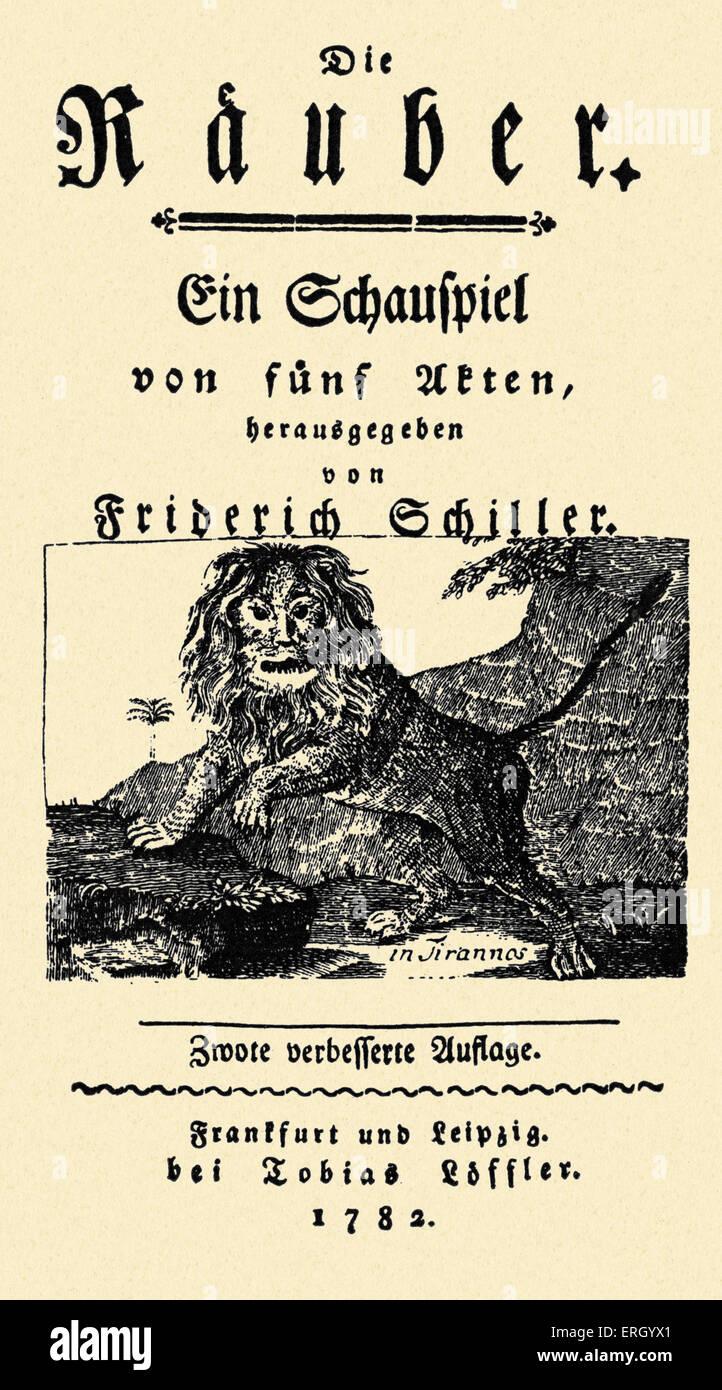 Friedrich Schiller Titelseite Des Theaterstucks Sterben Rauber Rauber Veroffentlicht