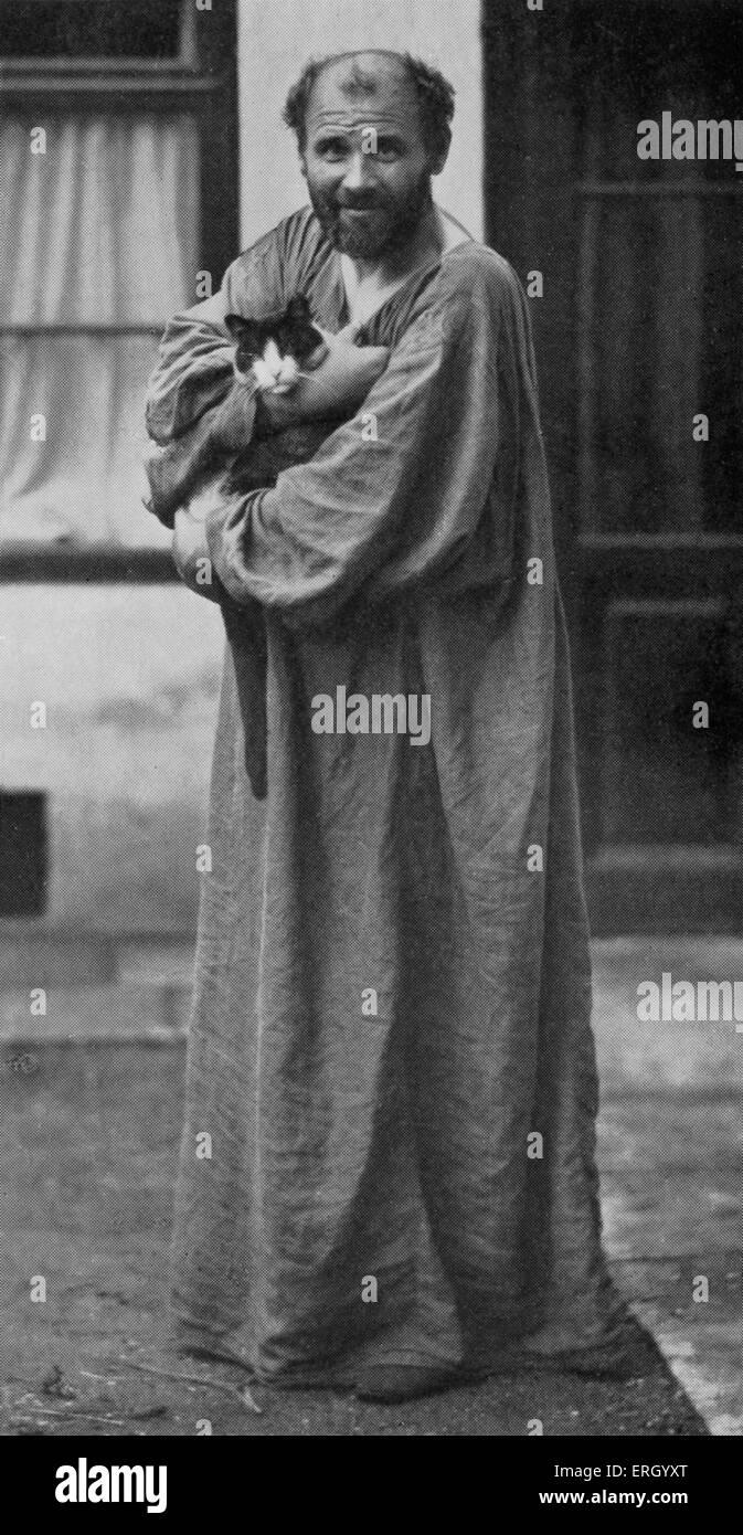 Gustav Klimt-Porträt mit Katze. Österreichischer Maler und Grafiker in Wien 1862-1918 geboren. Mahlers Wien. Österreicher Stockfoto