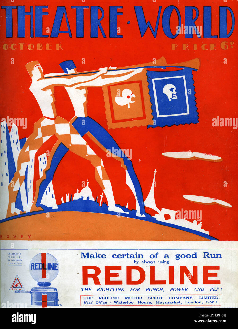 Theater Welt Abdeckung Oktober 1926. Grafiken von Bovey.    Herolde mit Banner Stockbild