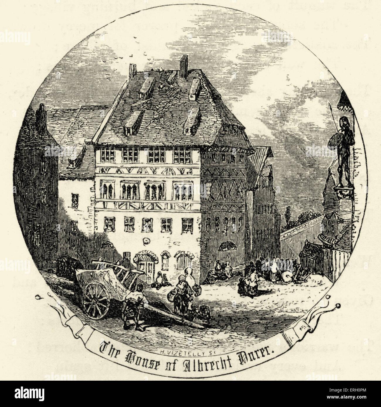 """Das Haus von Albrecht Dürer. Aus dem Gedicht """"Nürnberg"""" von Henry Wadsworth Longfellow. US-amerikanischer Stockbild"""