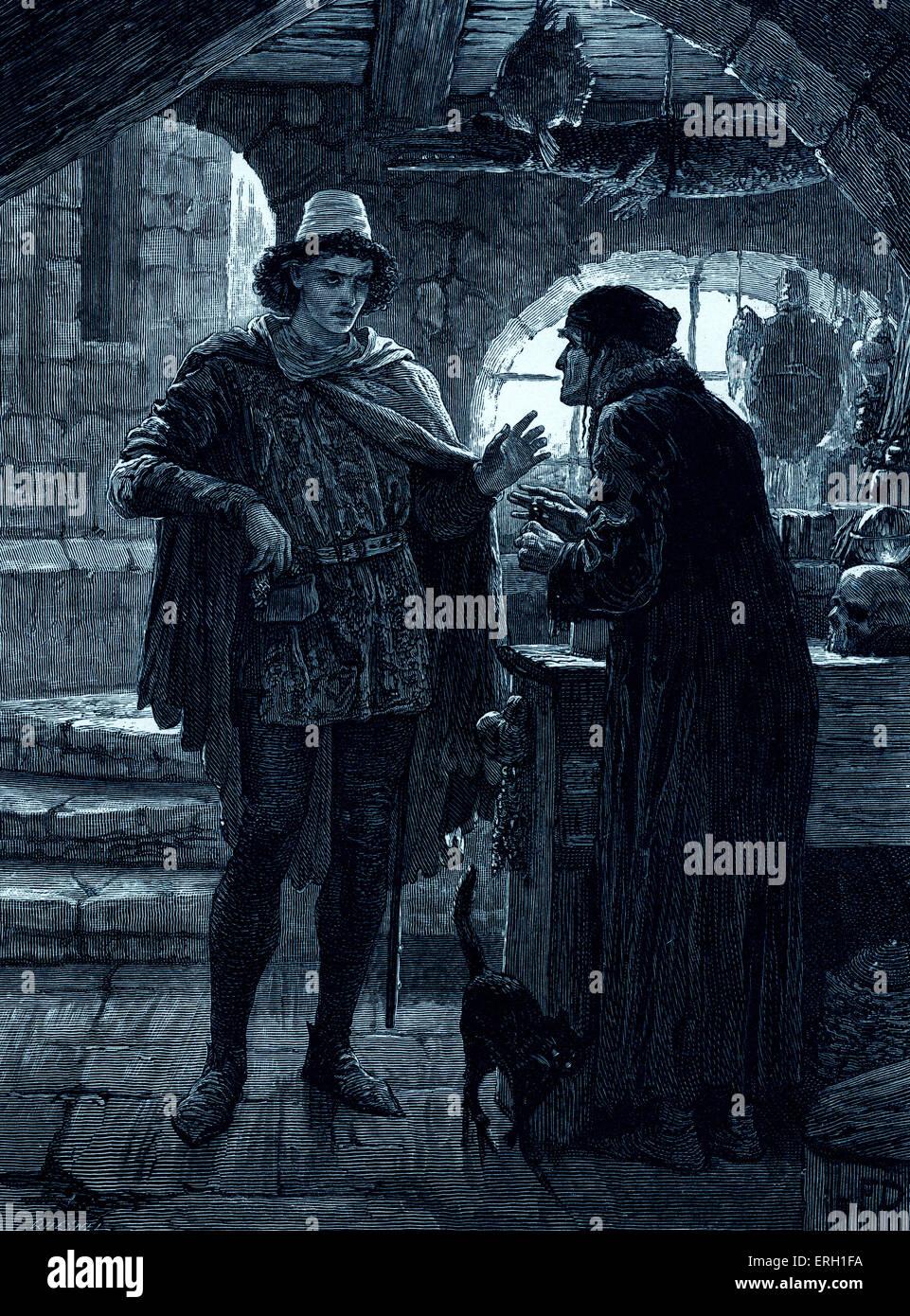 """William Shakespeares Romeo und Julia zu spielen.  Akt V, Szene 1 Romeo und der Apotheke. """"Apotheker: meine Stockbild"""