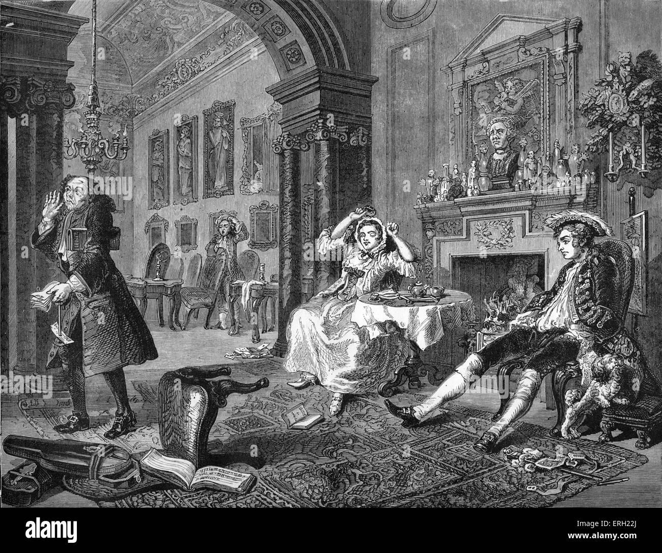 Ehe a la Mode - der Morgen danach die große Unterhaltung. Kupferstich von William Hogarth, englischer Künstler, Stockbild