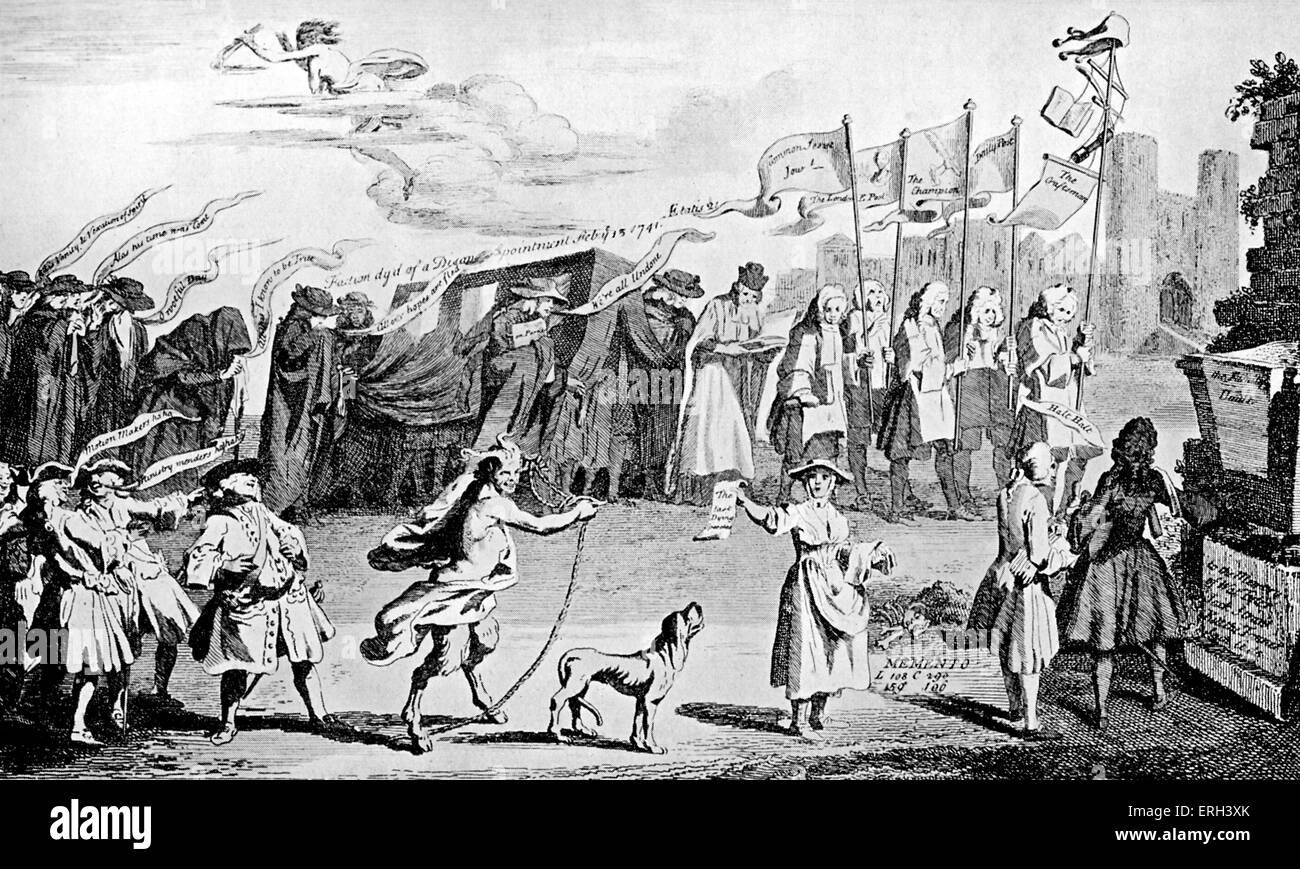 """Henry Fielding: zeitgenössische Karikatur.  Sir Robert Walpole lacht über die """"Beerdigung"""" von Stockbild"""