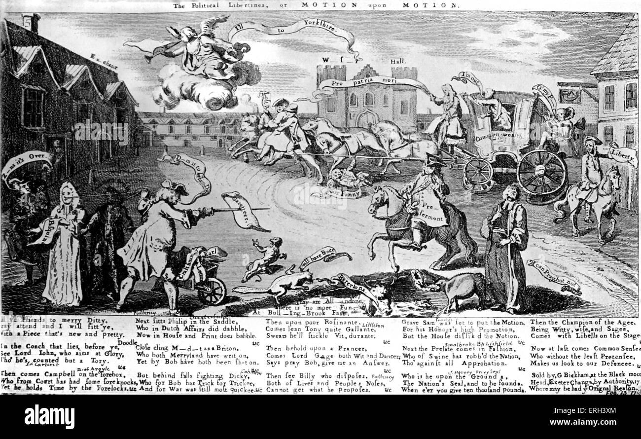 Henry Fielding: zeitgenössische Karikatur.  Fielding erscheint als ein Mitglied der Opposition, das Tragen Stockbild