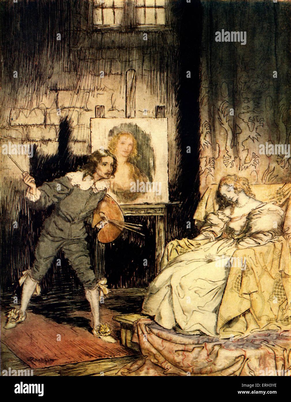 """""""Das ovale Portrait"""" von Edgar. Ein Künstler tötet versehentlich seine Frau durch die Erfassung Stockbild"""