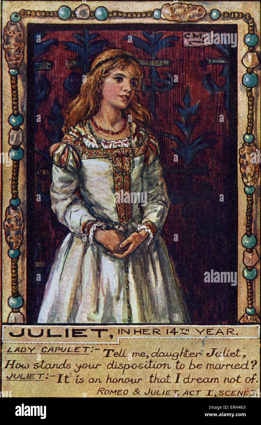 """Shakespeares """"Romeo und Julia"""". Julia in ihrem 14. Lebensjahr.     """"Sag mir, Tochter Julia, wie steht Stockbild"""