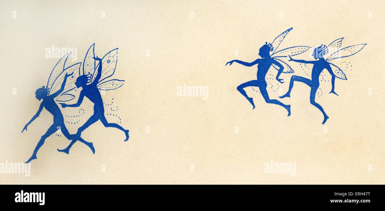 Blaue Feen fliegen, mit Feenstaub. Illustration von Gwynedd M. Hudson. (Datum nicht bekannt) Stockbild