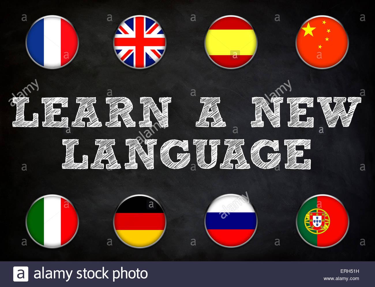 Lerne eine neue Sprache - Tafel Abbildung Stockbild