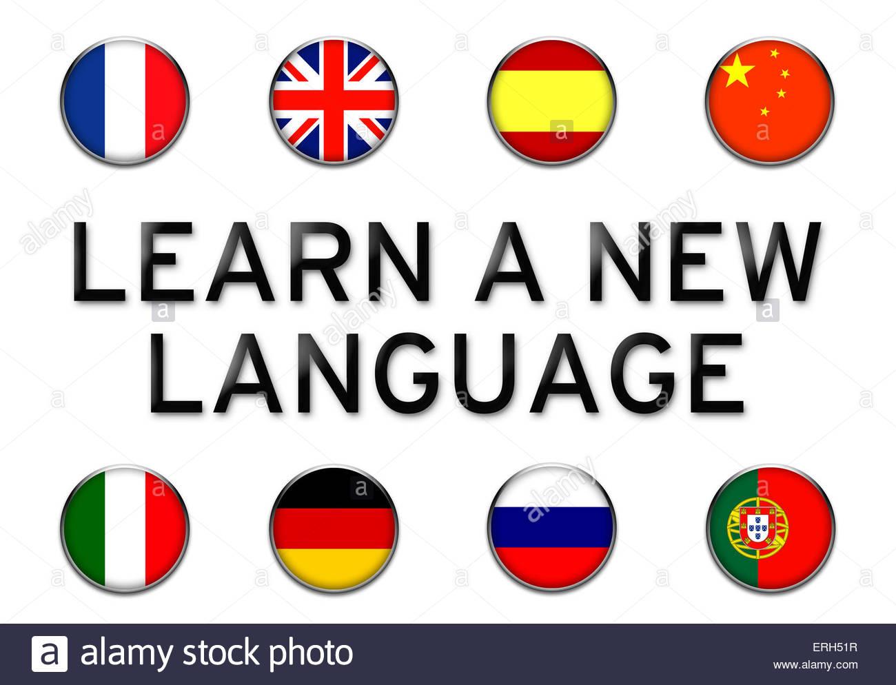 Eine neue Sprache lernen Stockbild