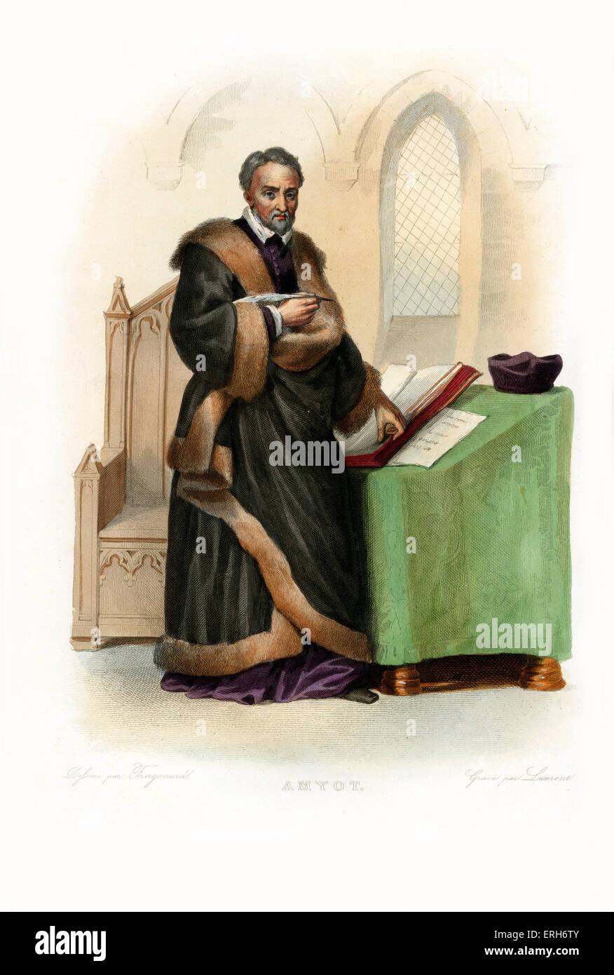 Jacques Amyot. Französische Renaissance-Schriftsteller und Übersetzer. c.1514-1593. Kupferstich von Laurent, Stockbild