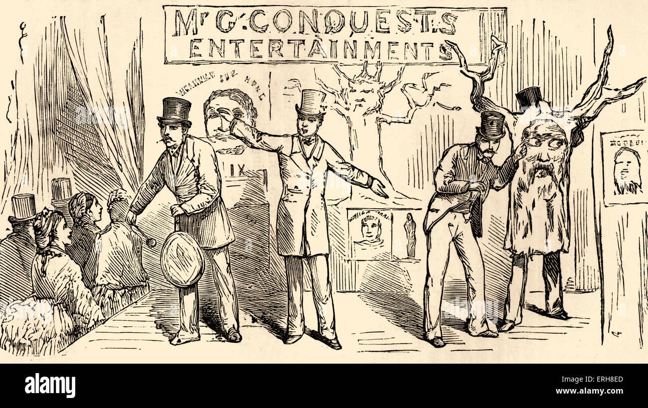 Herr Eroberung Bartholomew Fair Entertainment am dramatischen College Fête, Alexandra Palace, London 1875. Stockbild