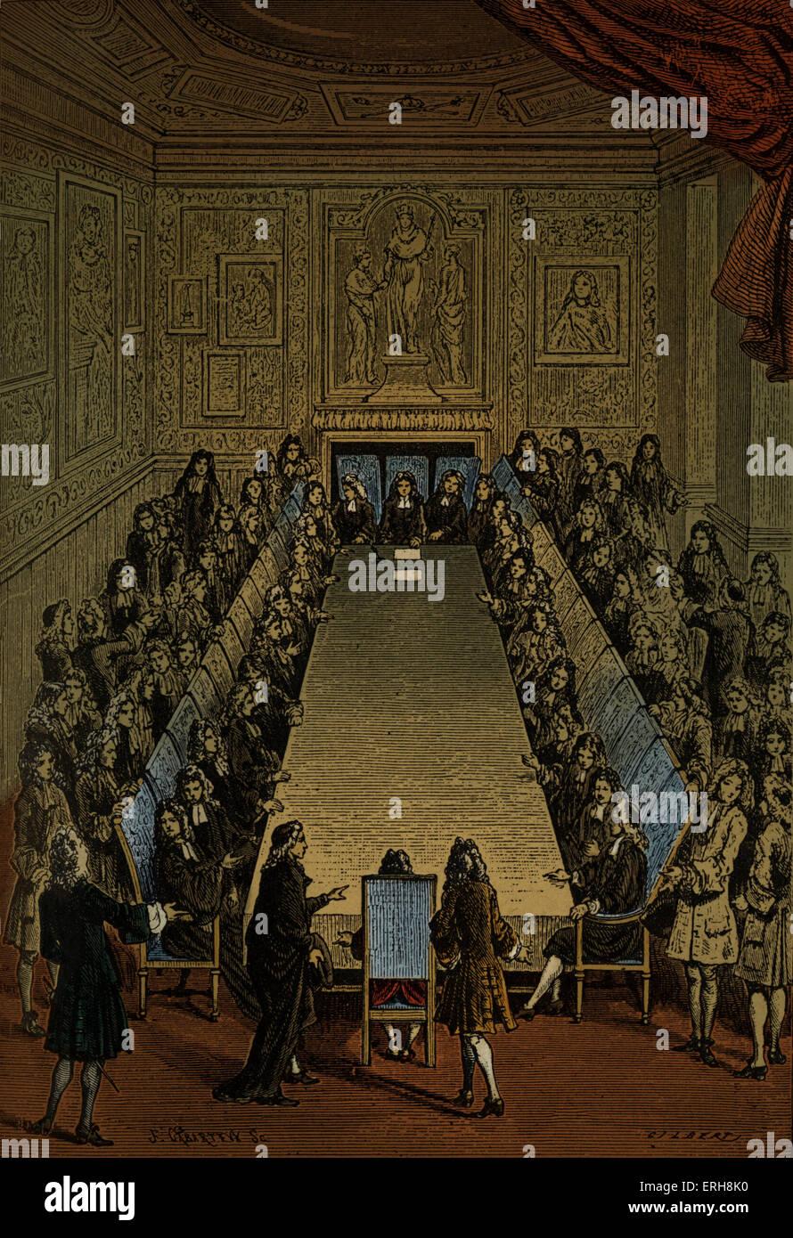 Treffen der französischen Akademie / Académie Française - im Louvre - 1714 Stockbild