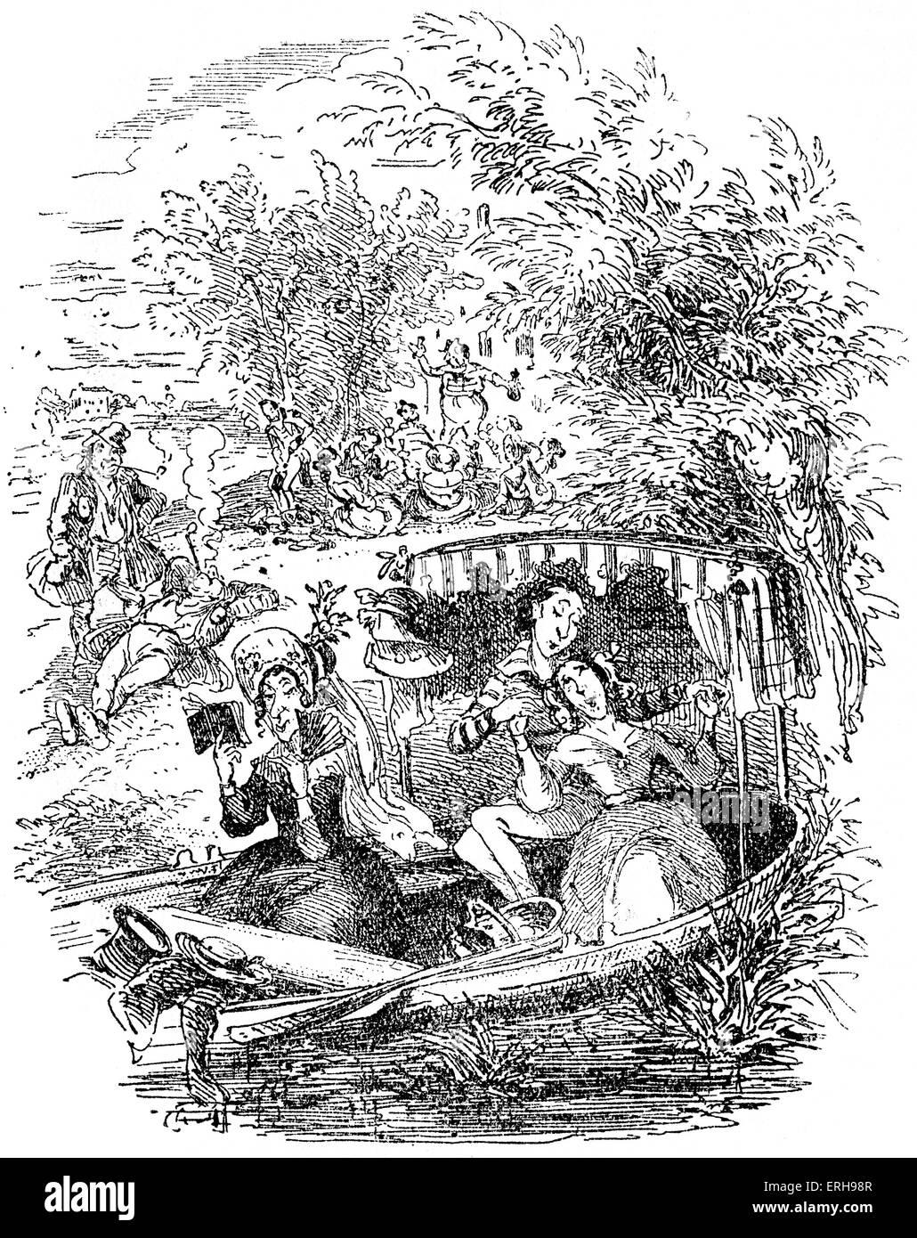 """Skizzen von Boz: Illustrative jeden Tag Leben und Alltagsmenschen von Charles Dickens. Szene: """"die Liebenden"""". Stockbild"""