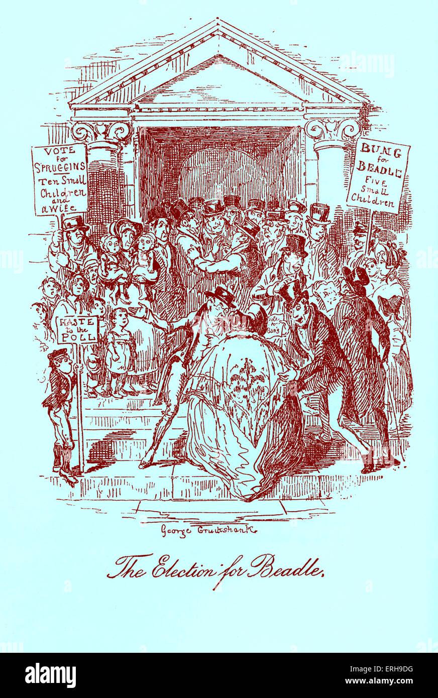 """Skizzen von Boz: Illustrative jeden Tag Leben und Alltagsmenschen von Charles Dickens. Szene: """"die Wahl für Stockbild"""