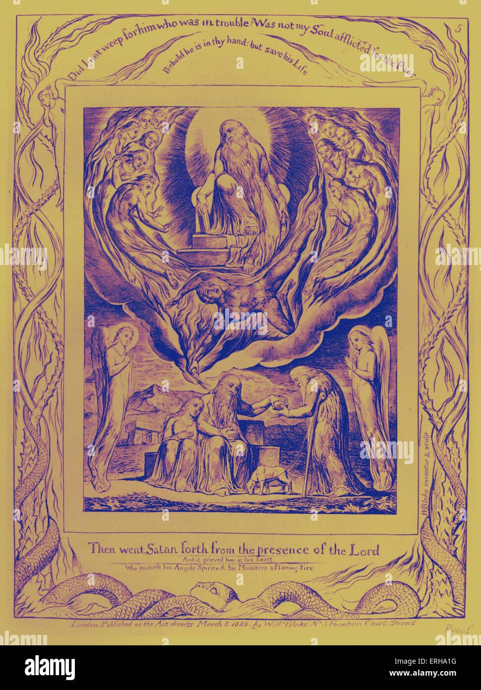 Satan geht hervor aus der Gegenwart des Herrn von William Blake, von den Abbildungen des Buches Hiob, 1825. Beschriftungen Stockbild