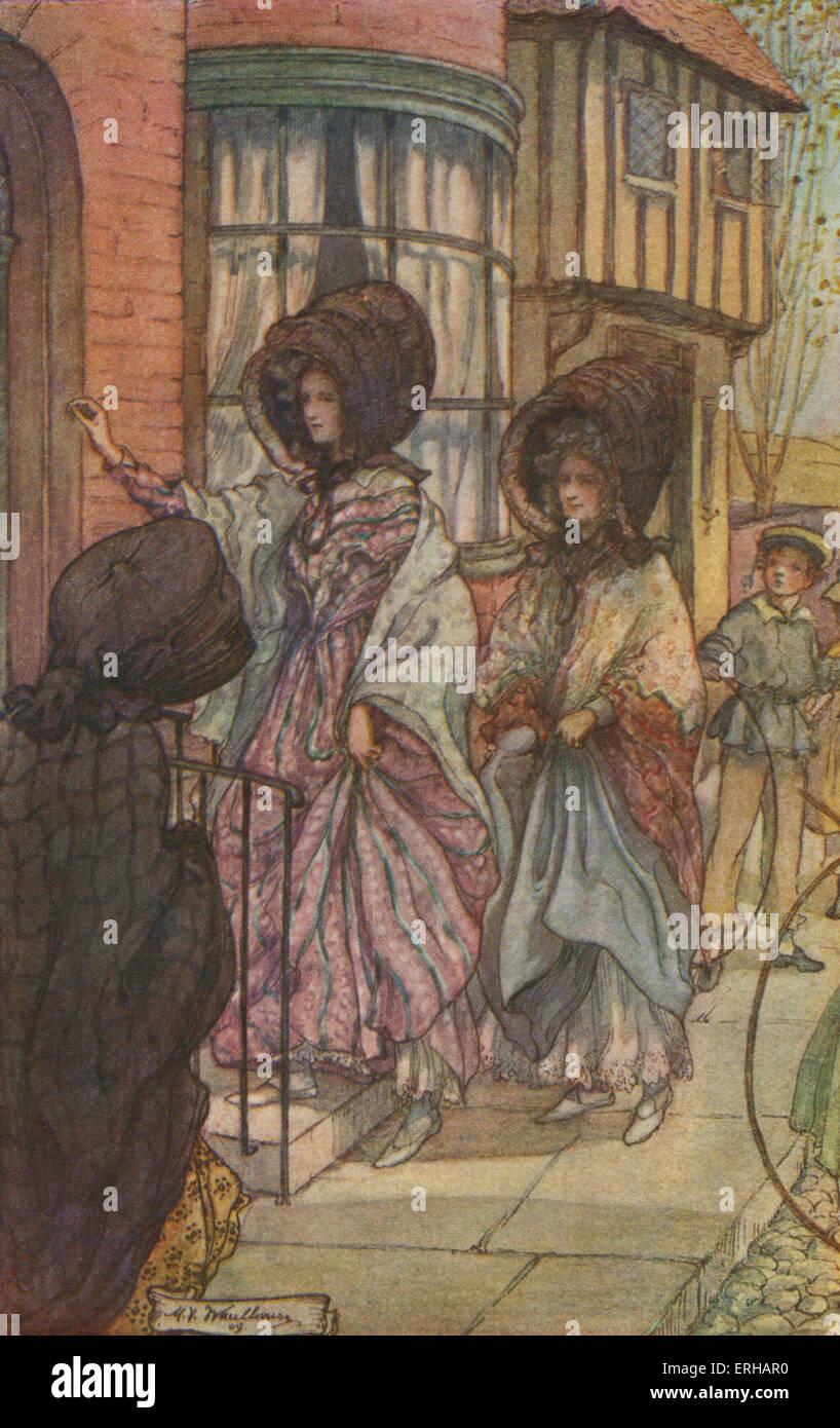 Cranford von Elizabeth Gaskell. Illustrationen von M V Steuerhaus (1895-1933). Bildunterschrift lautet: die Frühlingsabenden Stockbild