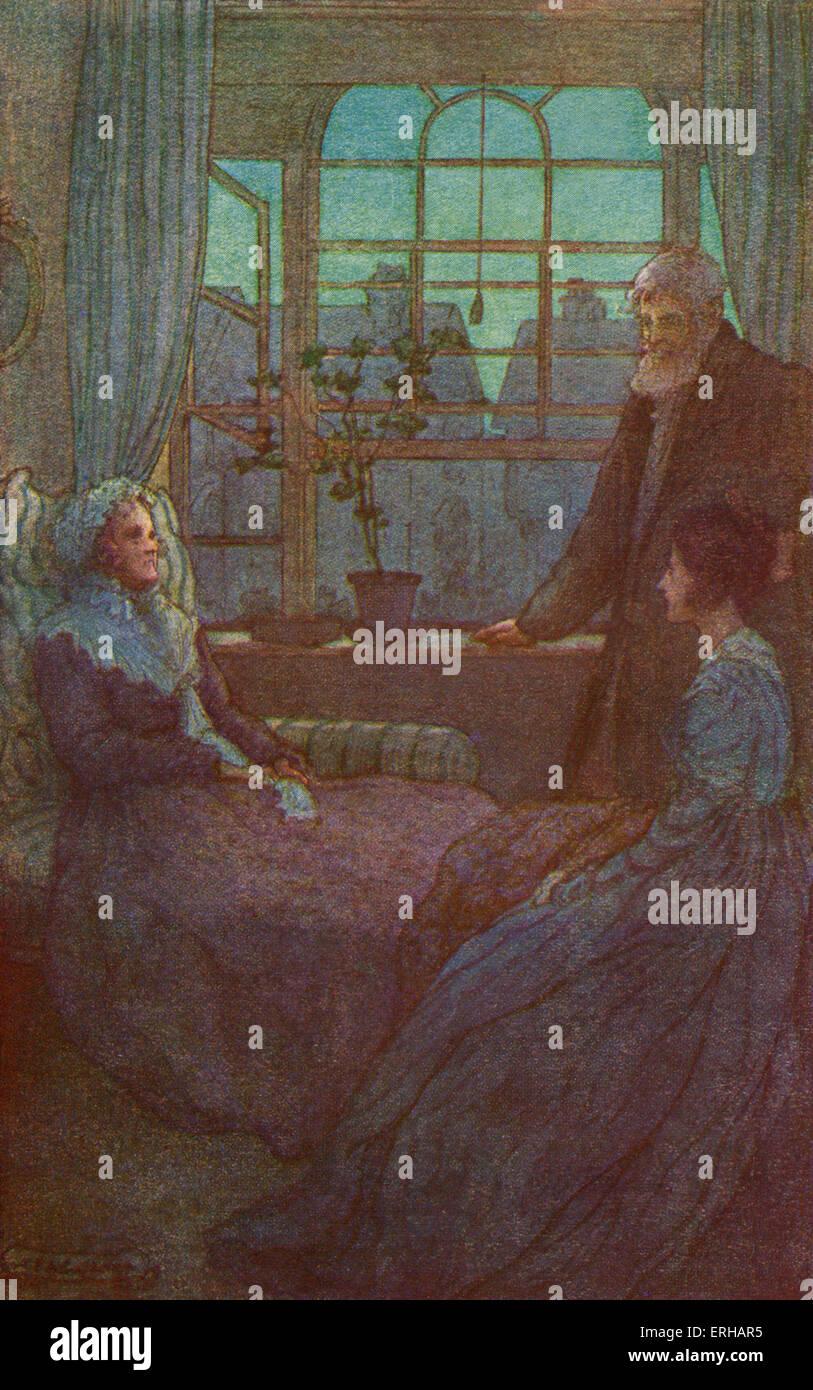 Cranford von Elizabeth Gaskell. Illustrationen von M V Steuerhaus (1895-1933). Bildunterschrift lautet: Herr Peter Stockbild