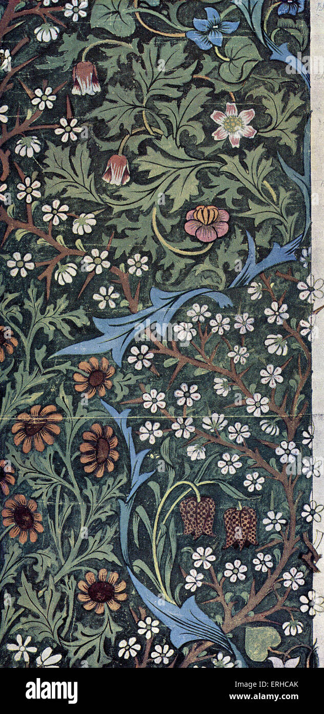 """Design für """"Blackthorn"""" Tapete von John Henry Dearle für Morris & Co., Ltd (1892).  Möbel Stockbild"""