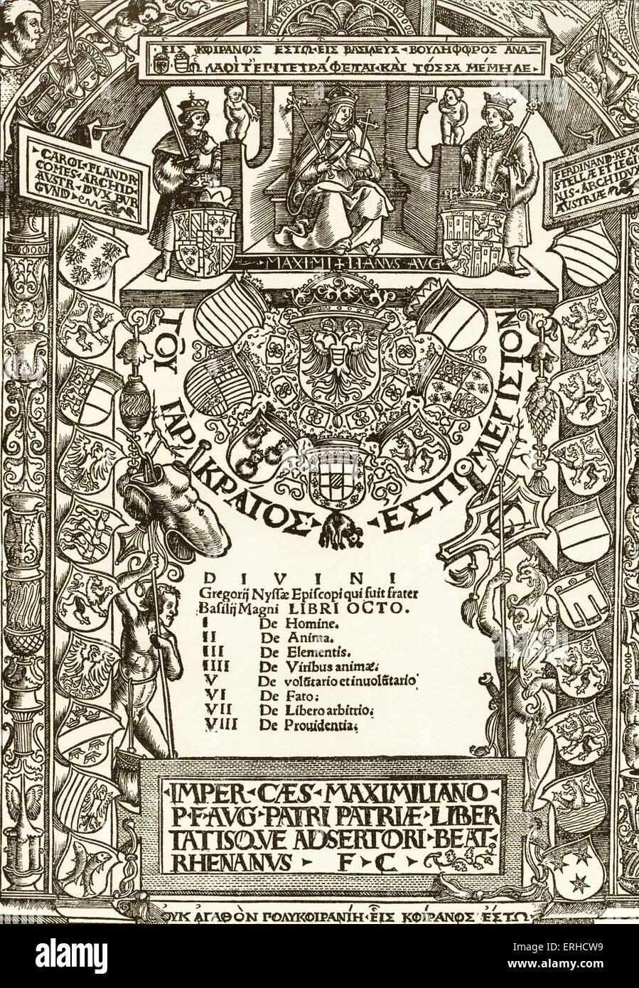 Kaiser Maximilian Titelseite, Holzschnitt von Urs Graf, Mai 1512. Hommage an Kaiser Maximilian, thront oben in der Stockbild
