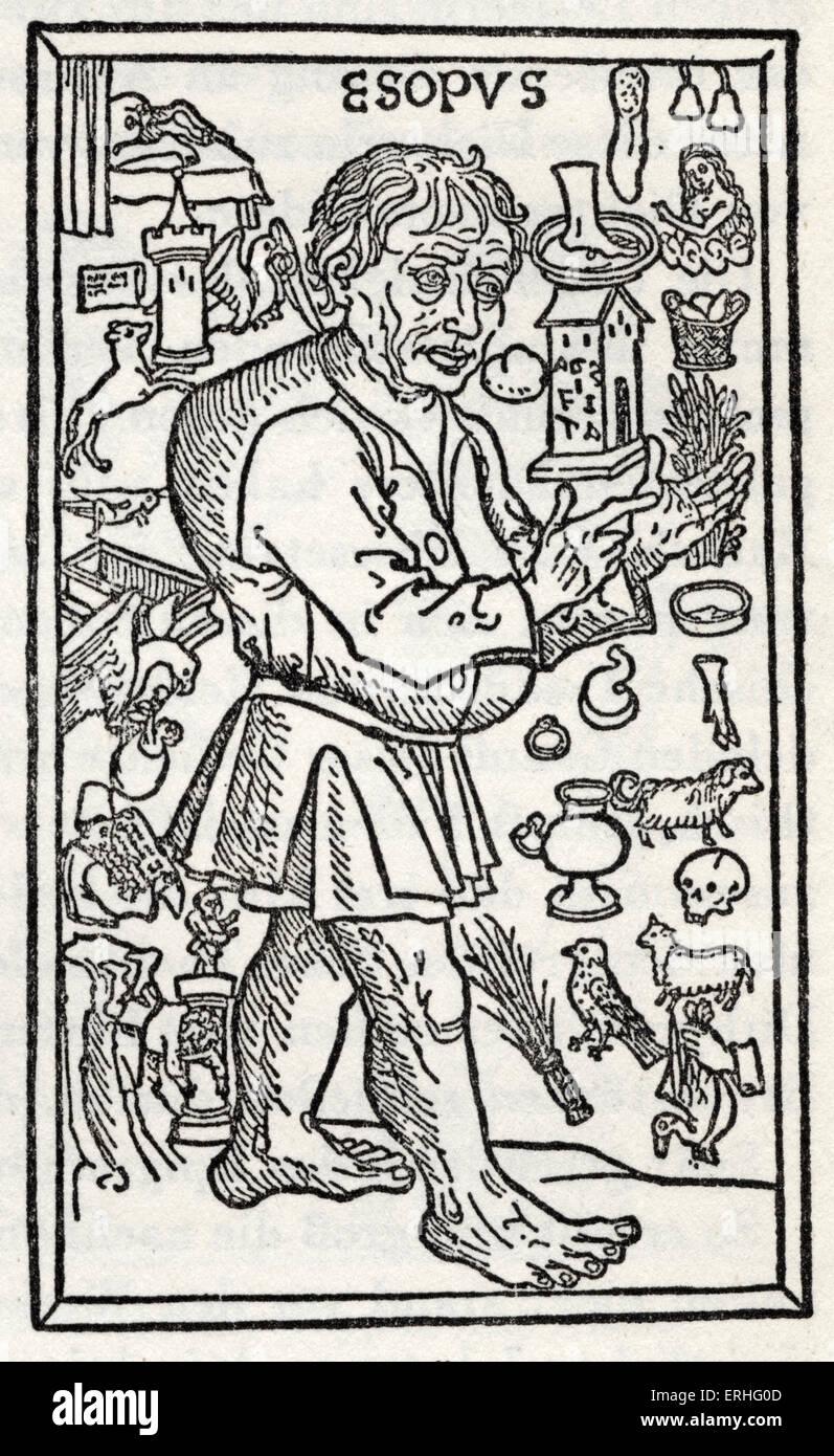 """'Fabeln des Aesop', Holzschnitt von 1495 deutsche Ausgabe.  Ulm. Stirnbrett, Caxton """"Aesop Fabeln"""". Stockbild"""