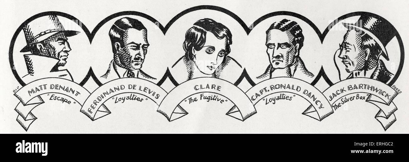 """John Galsworthy - Porträts von den männlichen Hauptfiguren aus der Buchreihe """"The Forsyte Saga' Stockbild"""