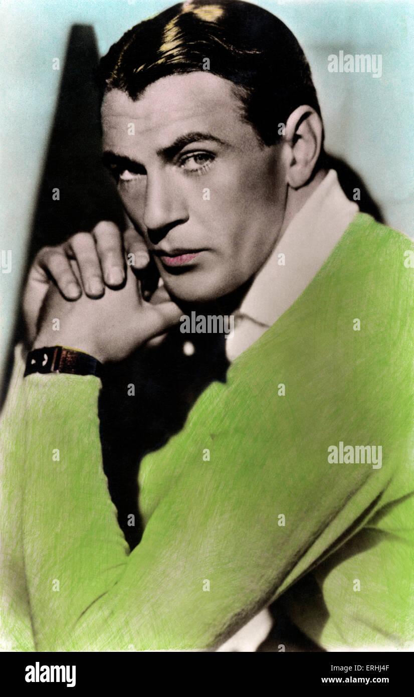 Gary Cooper - Porträt von den amerikanischen Schauspieler des britischen Erbes 7. Mai 1901 ? 13. Mai 1961. Stockbild