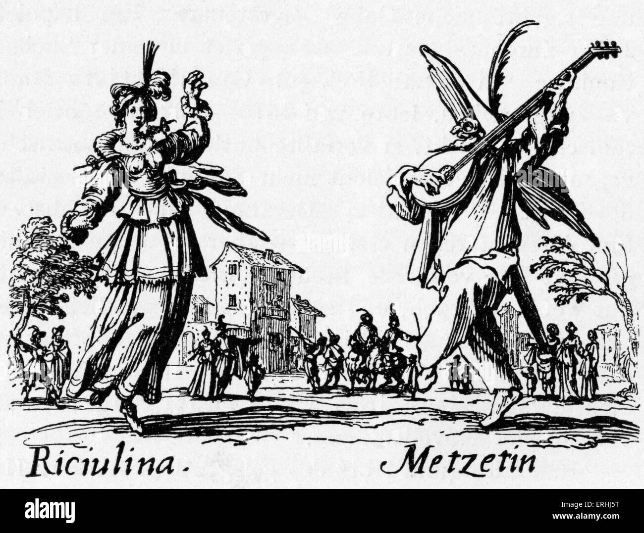 Commedia dell, Italienisch, 16. Jahrhundert. Ein paar Tänze im Freien. Eine männliche maskierte Figur Stockbild