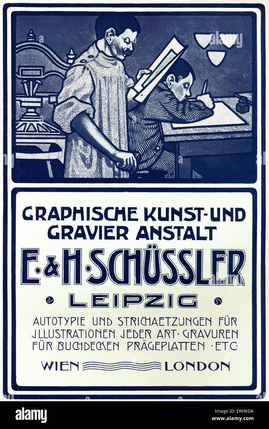 Graphische Kunst und Schriftsatz feste Werbung von 1902 Drucker Katalog. Graphischen Kunst Und gravier Anstalit Stockbild