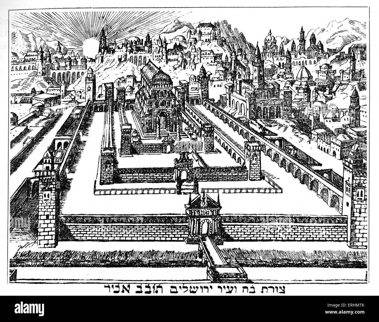 Wiederaufbau des Tempels in Jerusalem Zeichnung von 1695 Amsterdam Pessach Haggada Stockbild