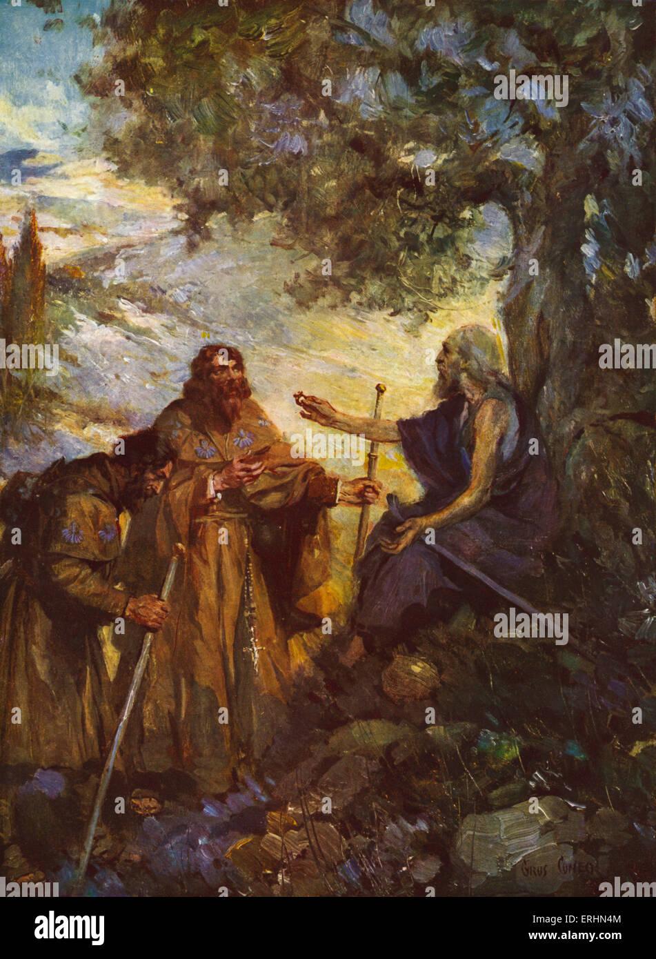 """Legende der """"Hochzeit Ring of England""""-die Legende des Ringes von Edward der Bekenner aus dem Gemälde Stockbild"""