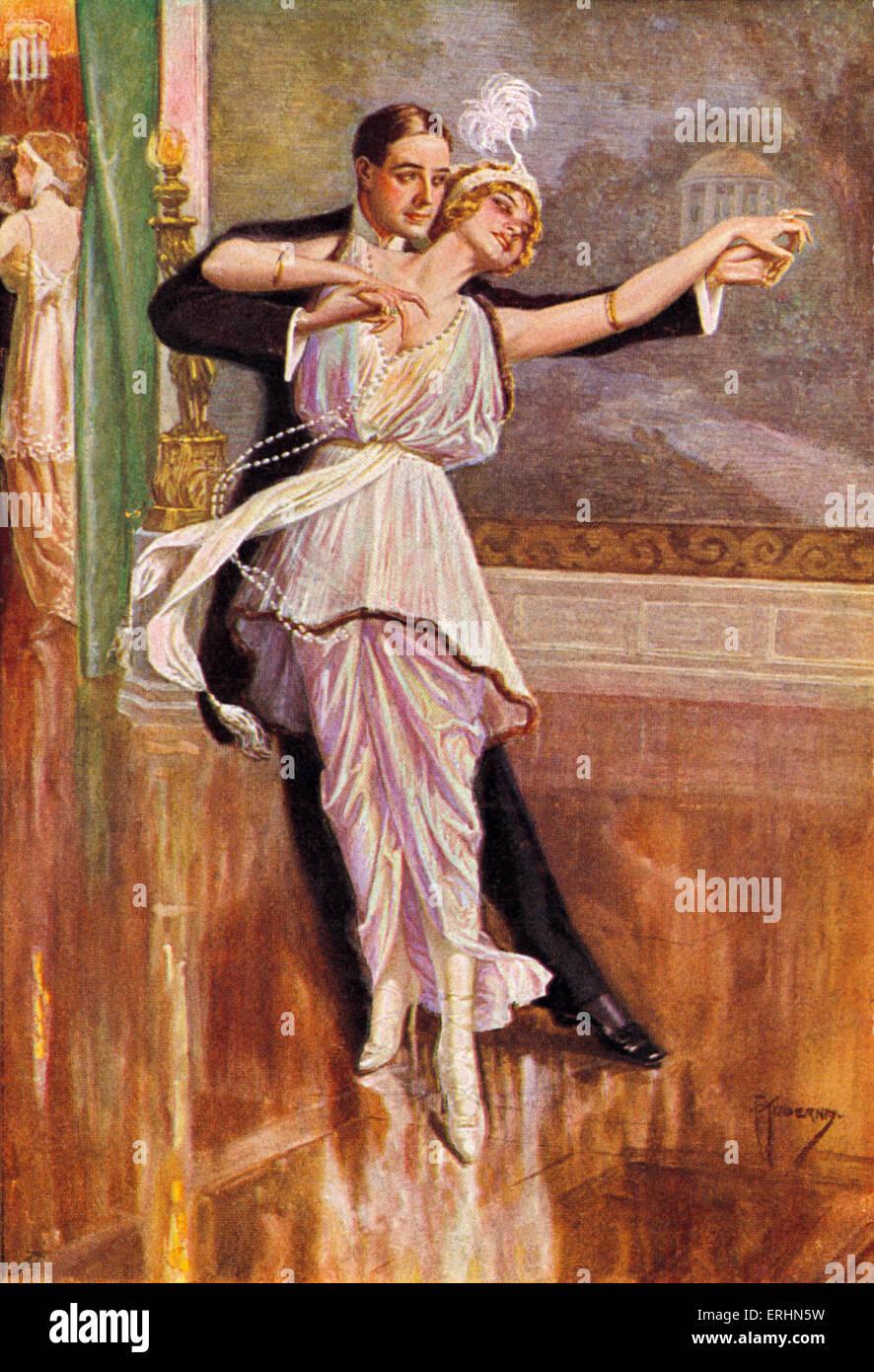 Paare tanzen in Wien Ende 19. Jh. von Kuderny. Frau trägt eine Feder Kopfschmuck und lange Kette aus Perlen. Stockfoto