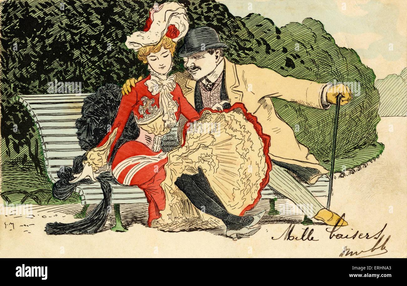 Umwerben paar auf Parkbank, Mann mit Monokel, legt Arm um junge Frau. Spazierstock. Melone. Petticoats unterzeichnet Stockbild