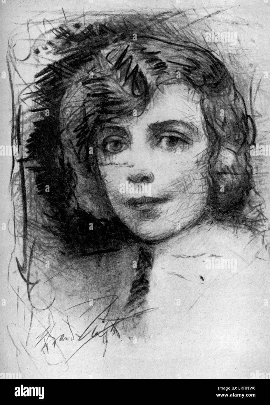 Vicki Baum - c. 1931. Österreichische Schriftstellerin: 24. Januar 1888 ? 29. August 1960.  Aus einer Zeichnung Stockbild