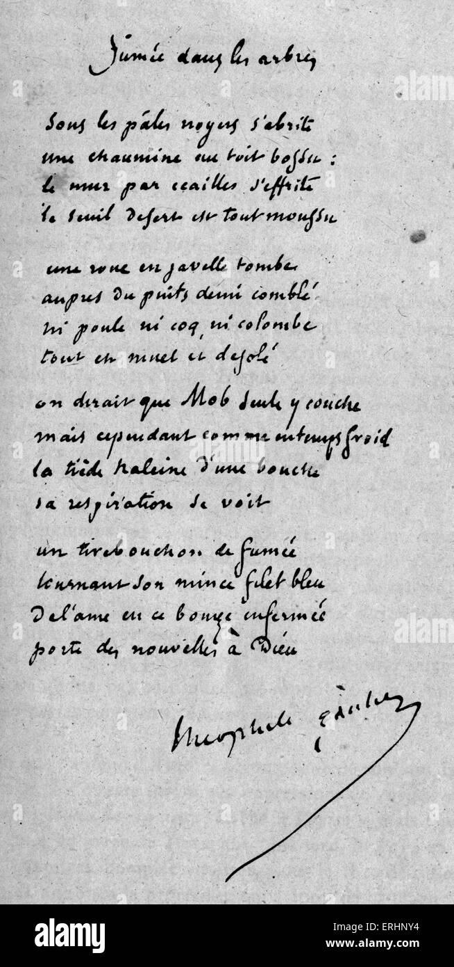 """Handschriftlichen Gedicht mit dem Titel """"Fumée', von Théophile Gautier - französischer Dichter, Stockbild"""