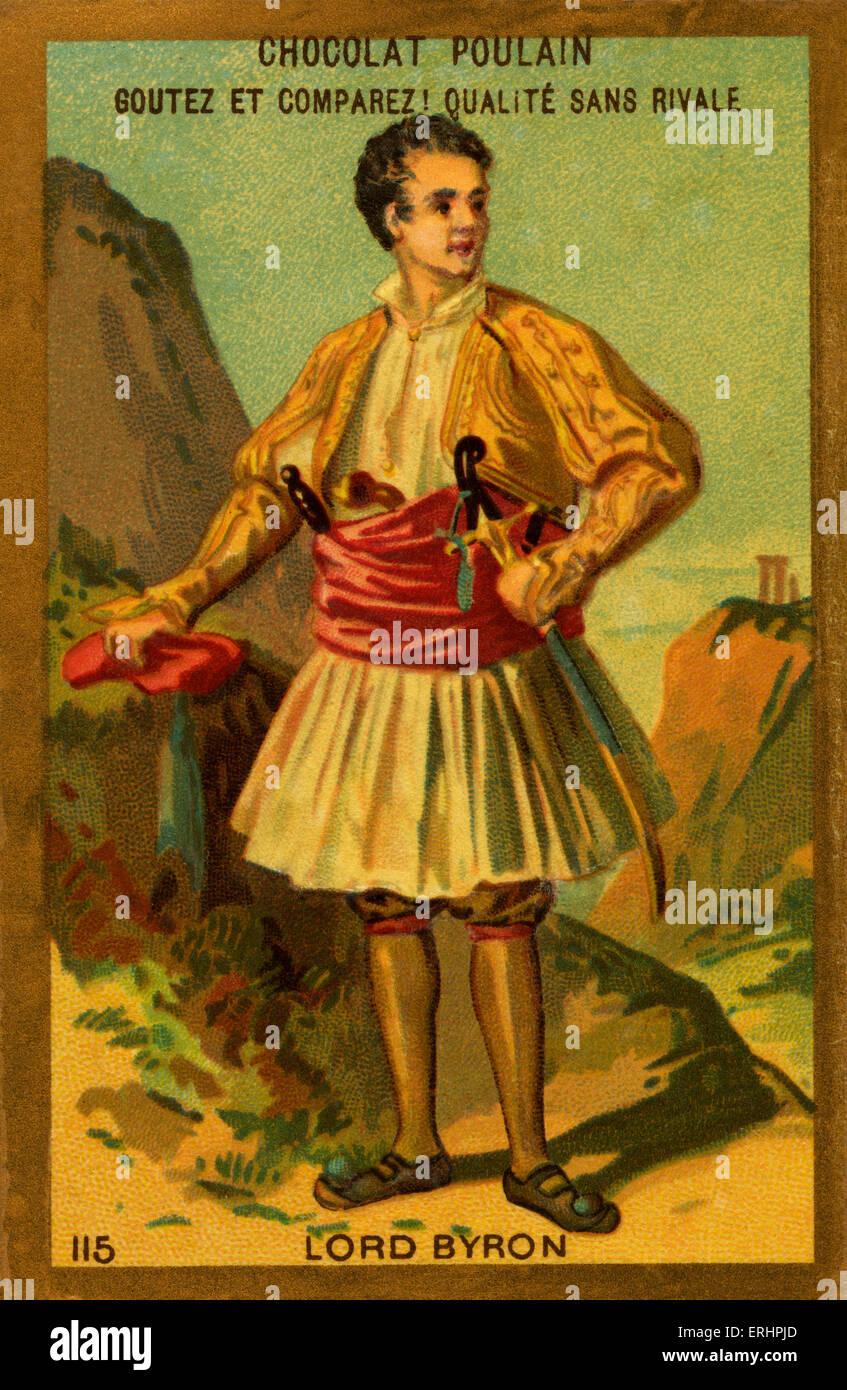 Lord Byron - Anglo-schottischen Dichter und Leitfigur in der Romantik: 22. Januar 1788 19. April 1824.  Karte für Stockbild