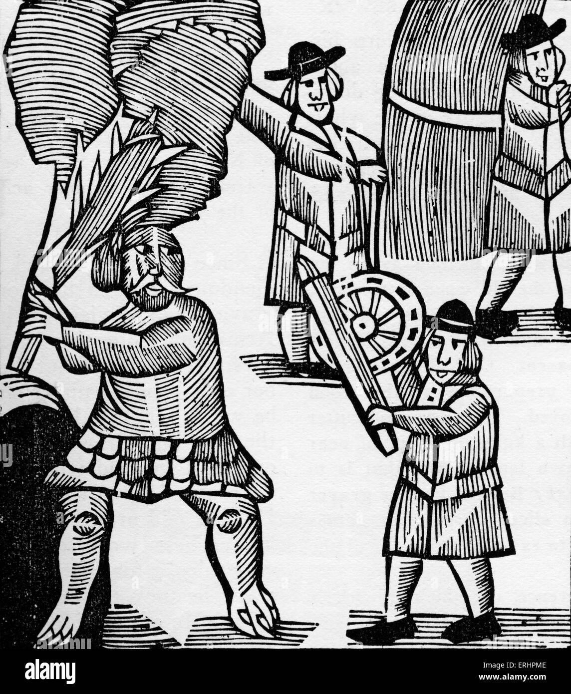 Geschichte von Thomas Hickathrift - ein legendärer giant Killer von East Anglian englischen Folklore. Die Riese Stockbild