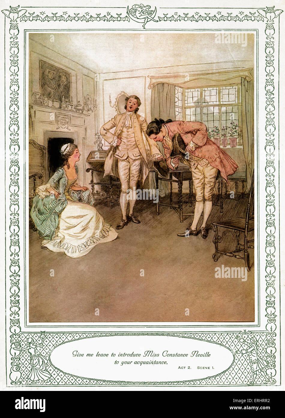 """Oliver Goldsmith spielen - """"She Stoops Conquer oder die Fehler einer Nacht"""". Akt 2, Szene I - """"erlaubt Stockbild"""
