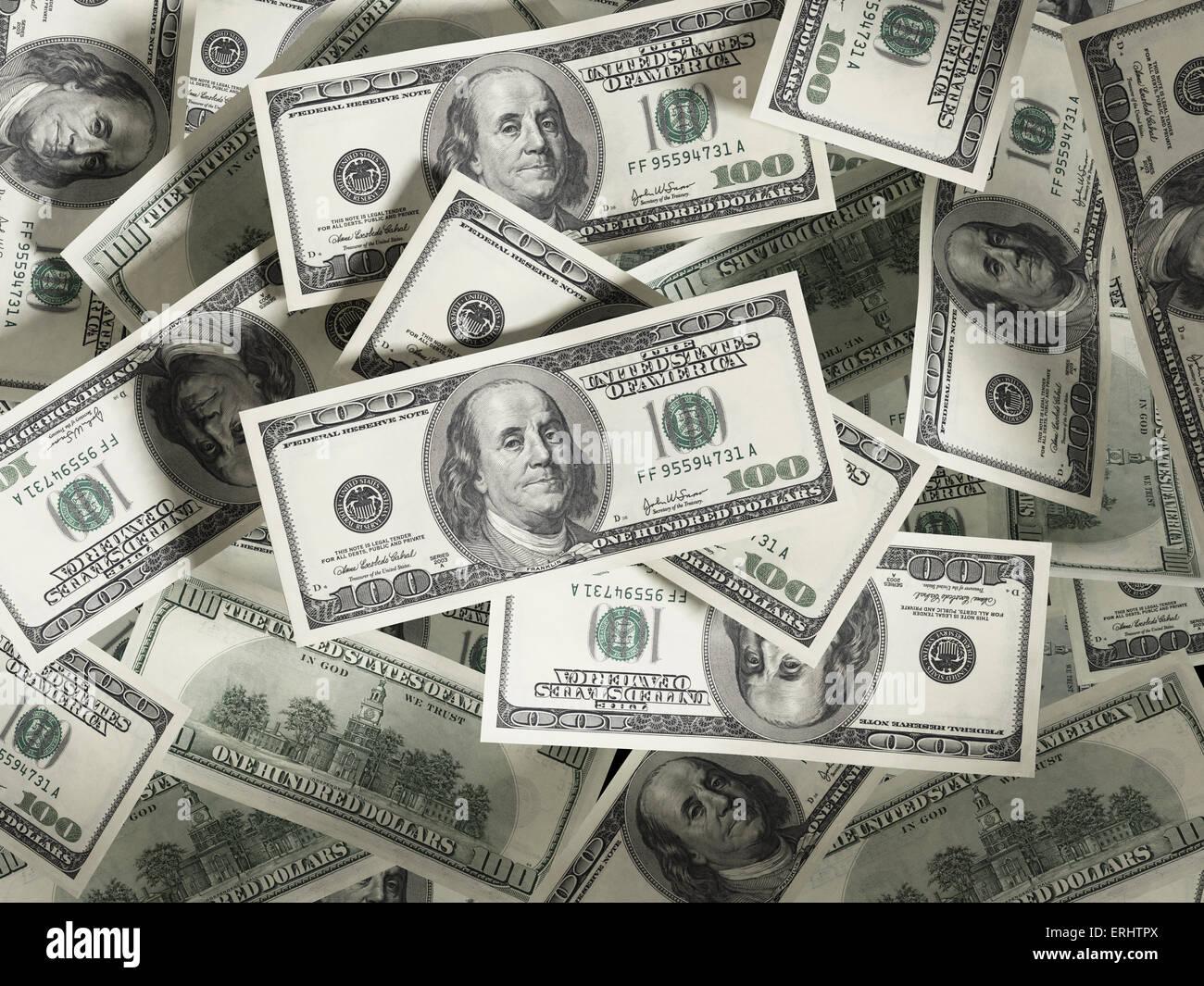 100 Dollar Geld Stapel. Vielfarbig Stockbild