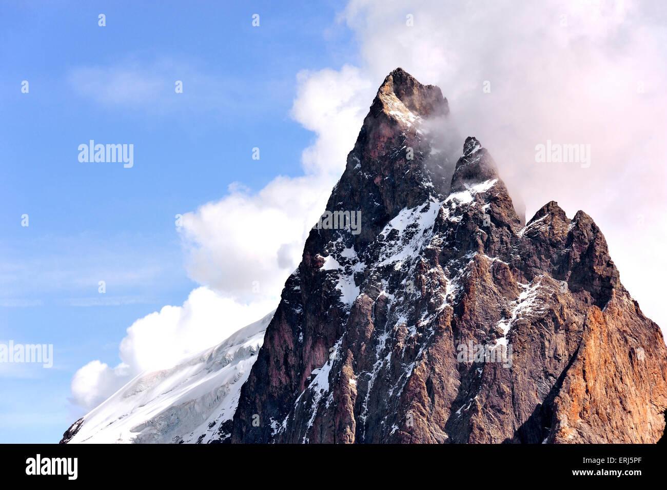 Gipfel des Berges La Meije; La Grave; Écrins, Französische Alpen, Frankreich Stockbild