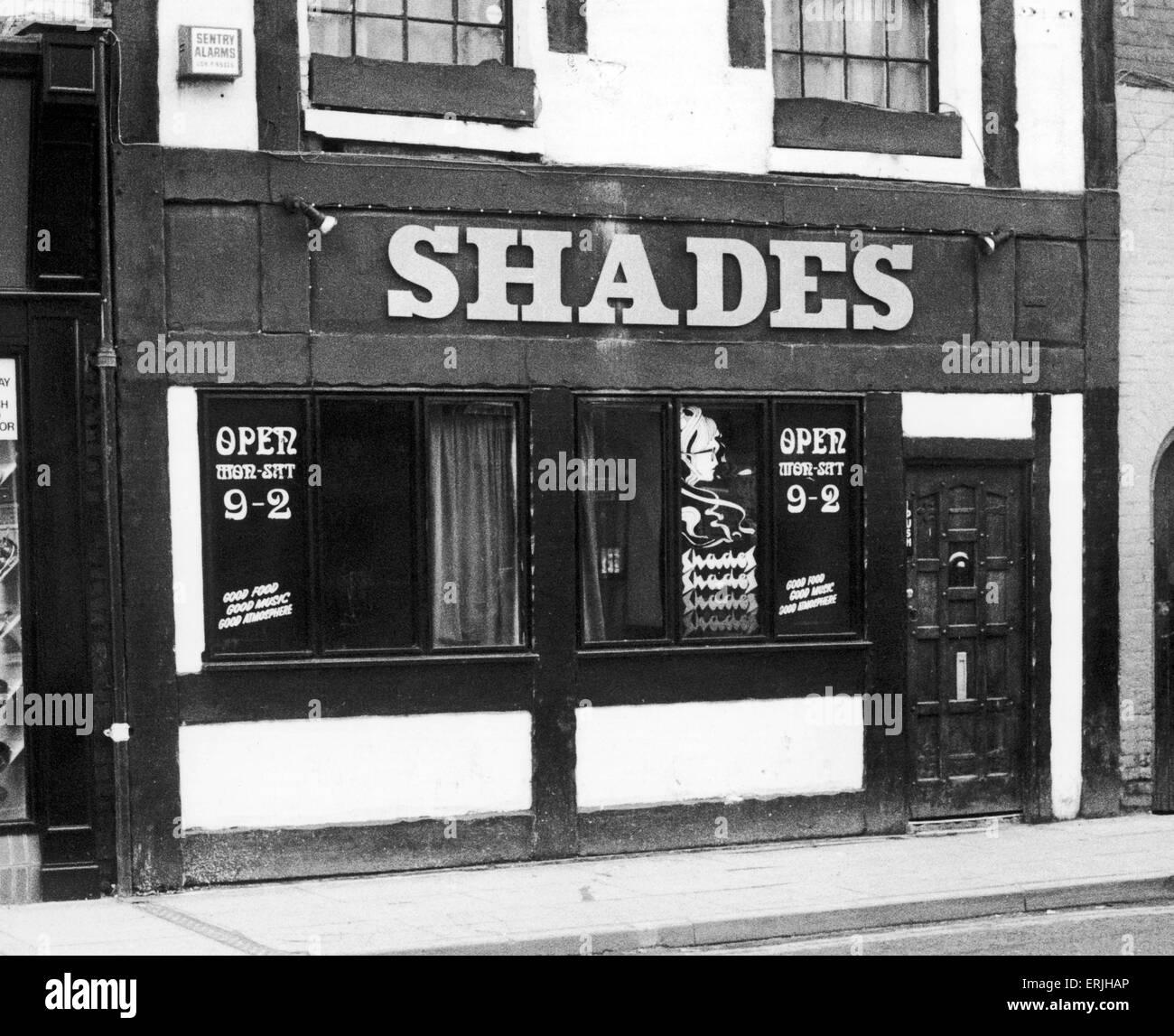 Die Schattierungen Nachtclub in The Burges Coventry Stadtzentrum 7. Januar 1982 Stockbild
