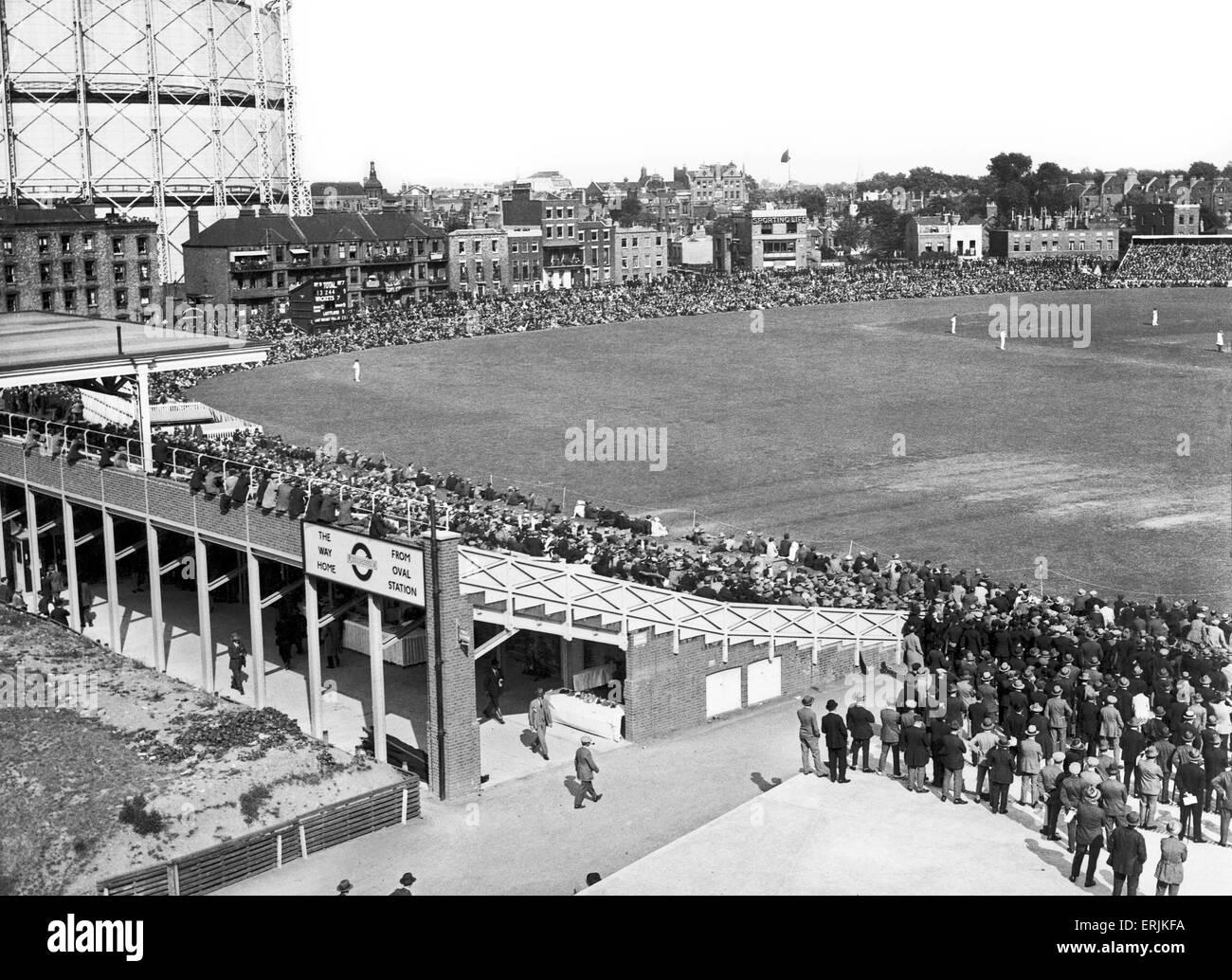 Gesamtansicht der Oval Cricket ground. August 1947. Stockbild