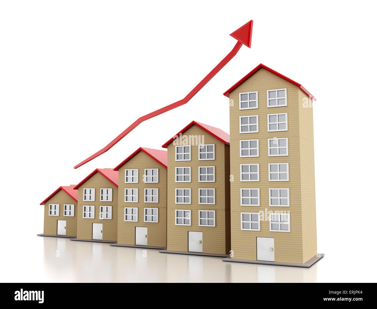 Steigende Gehäuse Marktkonzept mit mehrstöckigen Gebäuden. Stockbild