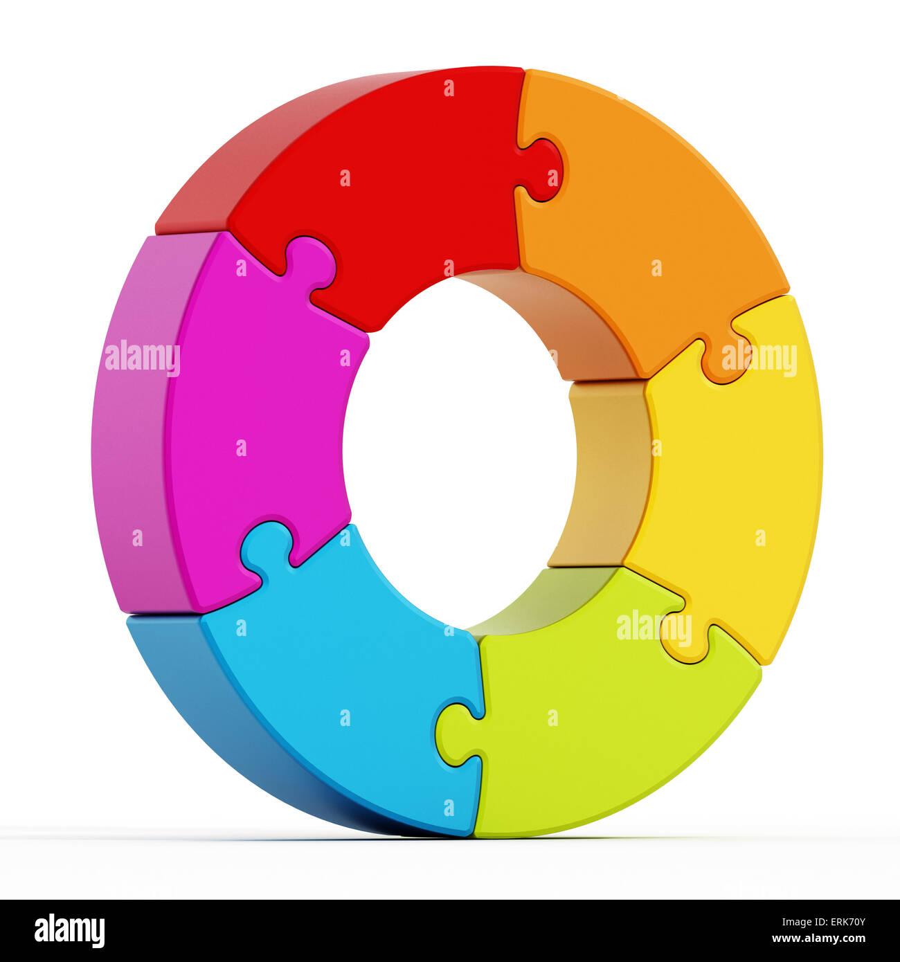 Jigsaw Puzzle-Teile bilden einen Kreis miteinander verbunden. Stockbild