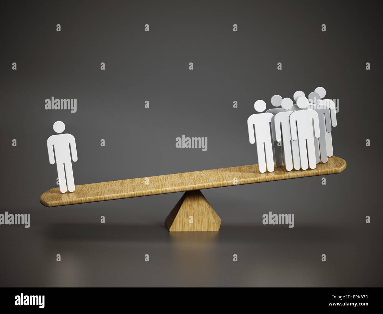 Business-Balance-Konzept mit einem Mann im Vergleich zu einer Gruppe von Menschen auf der Wippe. Stockbild