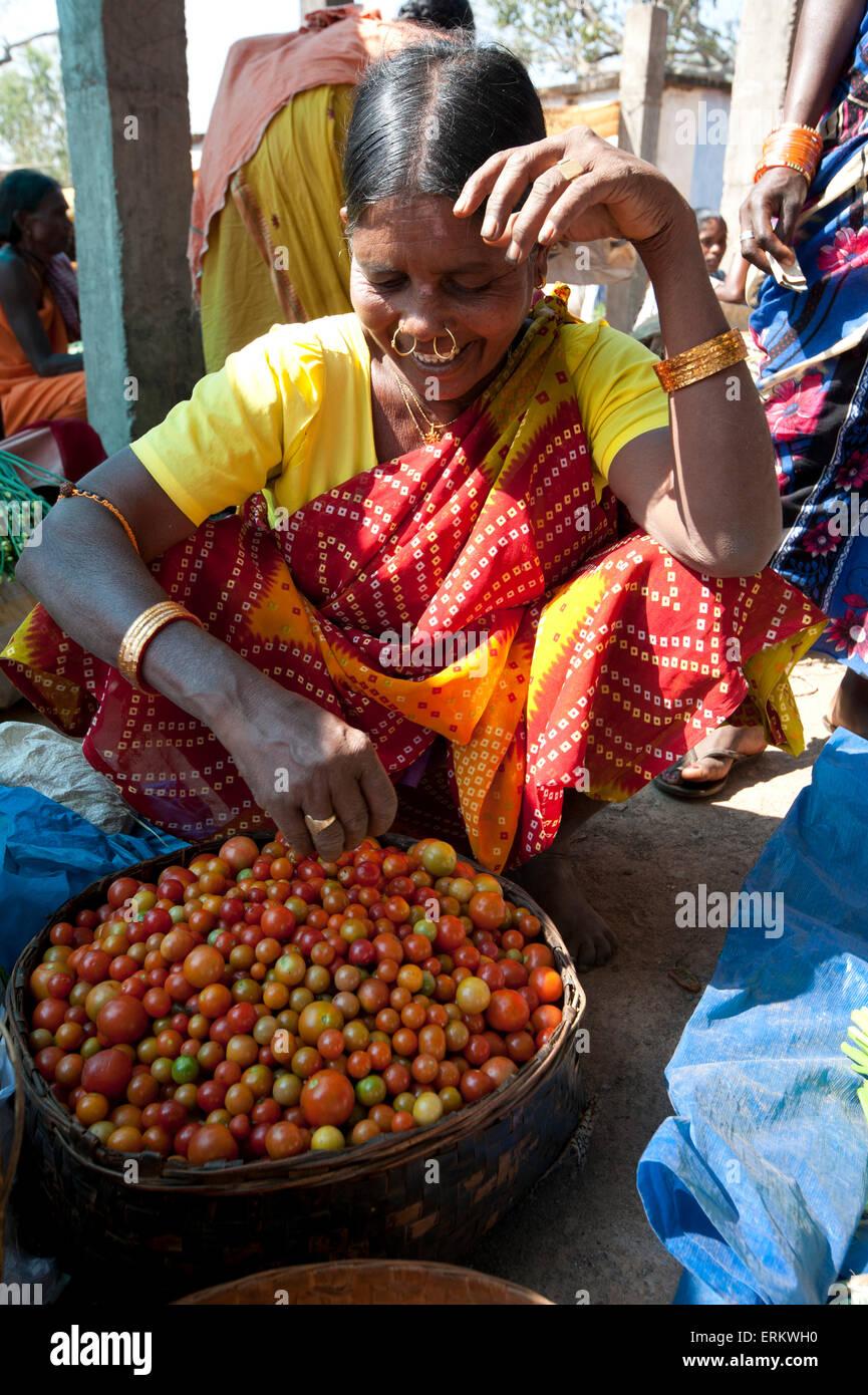 Mali Tribeswoman mit gold Noserings Verkauf von Tomaten in Mali wöchentliche tribal, Guneipada, Koraput Marktviertel, Stockbild