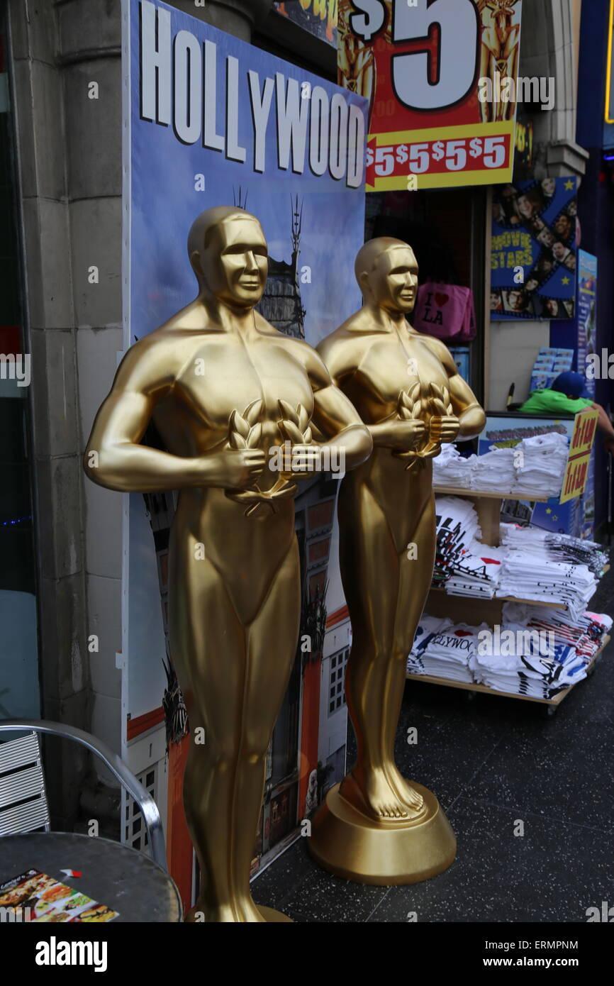 Oscar-Statue Repliken in Hollywood, Kalifornien Stockbild