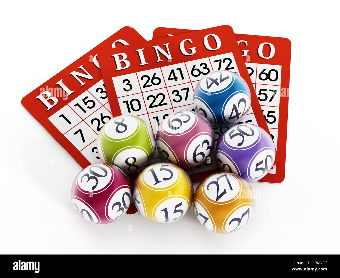 Bingo-Kugeln und Karten isoliert auf weißem Hintergrund. Stockbild